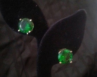 Christmas Sale Vintage Green Rhinestone Earrings 1970's 80's Collectible Retro Mid Century Rockabilly Jewelry