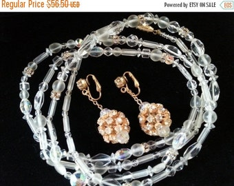 Now On Sale Glass Demi Parure, Vintage Flapper Length Long Necklace, Necklace Earring Set, 1950's 1960's, High End Vintage Jewelry