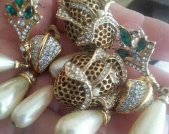 On Sale Vintage Rhinestone Earrings Dangly Long Chunky Flower Faux Pearl Jewelry Mad Men Mod Lot of 3