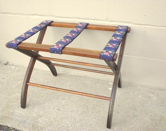 Fancy Wood Folding Luggage Suitcase Rack Stand Holder Table - Gorgeous Needlepoint Rose Floral Straps - Display Side End Table