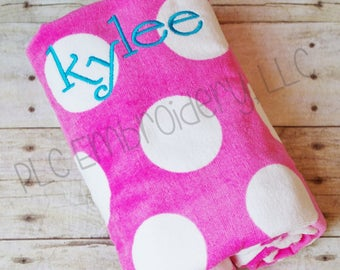 Embroidered Beach Towel - Polka dot towel - Kids beach towel - Personalized Towel