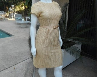 Vintage 1960's Beige Ribbon Dress with Matching Belt - Size 20 1/2