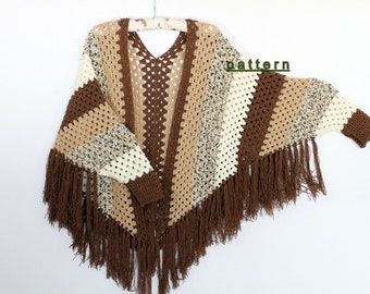 Poncho cape pattern Shawl pattern Striped poncho Crochet Sleeved Poncho pattern