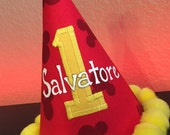 DISNEY Mickey Mouse 1st Birthday Party Hat, Yellow 1,  with NAME Hand Painted