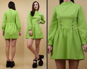 60s Vtg Neon LIME Green High Collared Poet Sleeve Micro Mini BABYDOLL Dress / Textured MOD GoGo Kawaii Kitschy Dress / Xs Sm