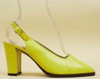 80s 90s Vtg CHARTREUSE Genuine Leather Slingback Platform Chunky Heels / Modern Minimalist 6.5 Eu 37
