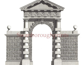 Architectural Plan Classic Doric Arch. Architecture Drawing Garden Stone Arch Architect Gift. English Garden Building Plans for Brick Arch