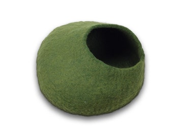 LARGE Cat Cave by Walking Palm - FREE SHIP - Green - ships now from usa / Cat Bed / Pet Bed / Hand Felted Wool