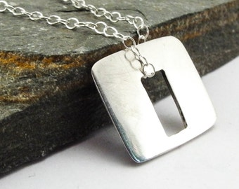 Rectangular Sterling Silver Pendants Necklace Handmade Jewelry for Women