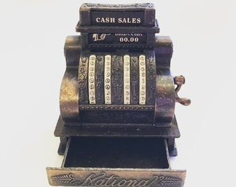 Vintage Miniature Cast Iron Dollhouse Antique Cash Register with Built-In Pencil Sharpener Vintage Office Supply