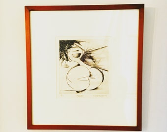 """Abstract Black and White Lithograph Number 13/17 Series T. Saltzman, """"Thrust"""" Circa 1971"""