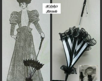 "Victorian ""WALKING STICK"" PARASOL Umbrella in Elegant Black and White Stripe Satin with Lace Ruffle w/Long Handle Civil War Wedding Goth"