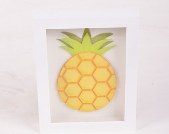 Hexagon Pineapple Papercut 5x7 Shadowbox
