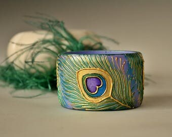 Wooden Bangle, Bracelet, Peacock Feather Bracelet, Purple Bracelet, Hand Painted