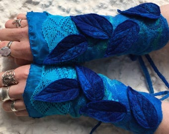 Blue Faerie Cuffs-woodland cuffs-  forest gloves- Cuffs- Folkowl Cuffs -  gloves-Forest Cuffs - Faerie Cuffs - armwarmers-mermaid costume