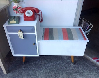 Mid century upcycled chalk painted telephone table