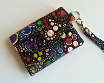 Quilted style ID Keychain Wallet in Mod Bubbles