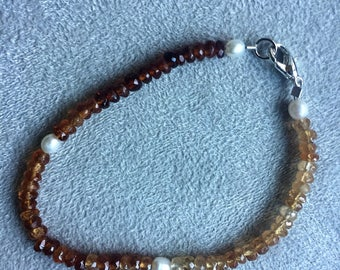 Hessonite Garnet and Pearl Bracelet