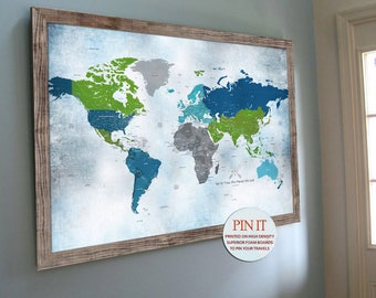 Push Pin Map 24X36 Inches World Map Home Office decor Blue and Green Travel Map Wedding map Anniversary Map, Map Gift for mother