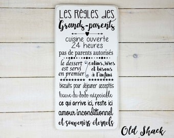 Les règles des grands parents (n#1-7-003) wood sign, hand painted, grandparents gift, grandparents rules, sign in french