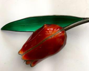 Hroar Prydz TULIP Pin Brooch NORWAY Sterling Enamel Green & RED Flower Norwegian