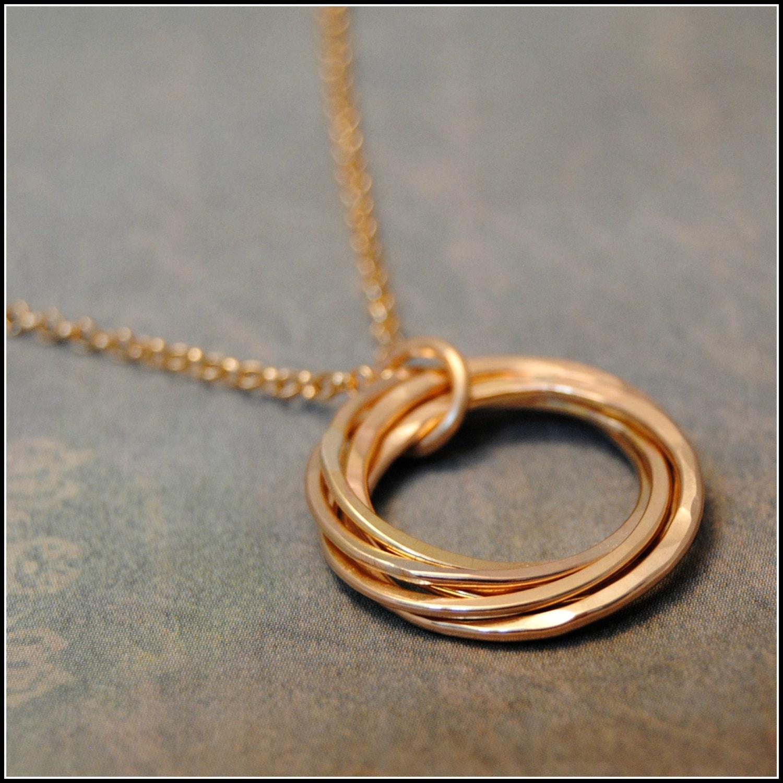 5 Rings Gold Necklace Interlocking Rings 50th Birthday