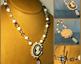"""Black and White Celluloid Cameo Necklace with Opalescent and Aurora Borealis Glass Beads, 22"""" long, Vintage Components"""