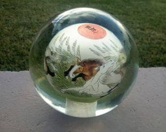 Japanese Reverse Painted Glass Ball Sphere Paperweight Wild Horses Signed With Seal Art Glass