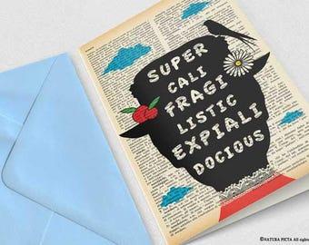 Supercalifragilisticexpialidocious Mary Poppins Card-funny card-Poppins Invitation card-Stationery card-Mary Poppins-by NATURA PICTA-NPGC103