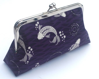Organic Clutch Purse, Kisslock Snap Frame Bag, Organic Fabric Clutch, Koi Fish