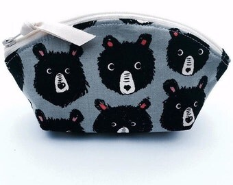 Bear Zipper Pouch, Curved Top, Small Woodland Zipper Bag , Grey, Black, and Pink