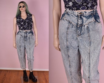 80s Acid Wash High Waisted Jeans/ US 18/ 35 Inch Waist/ 1980s/ Stone Wash/ Vintage