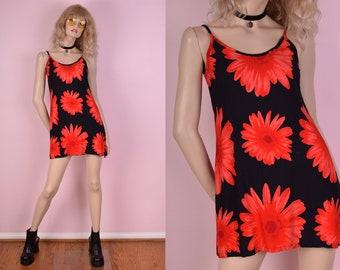 90s Daisy Print Mini Dress/ Small/ 1990s/ Tank/ Sleeveless/ Floral