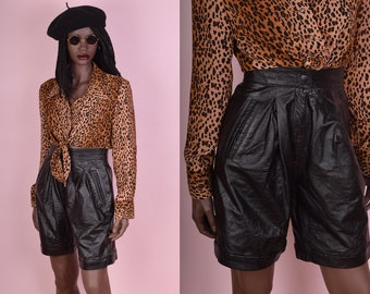 80s Black High Waisted Leather Shorts/ US 6/ 1980s