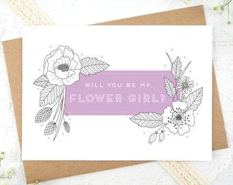Flower Girl Card - Will you be my Flower Girl? - Be my flower girl card - Flower girl proposal - Botantical Flower Girl