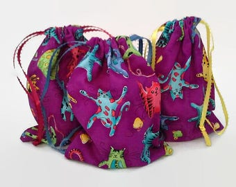 Crazy Colorful Cats Birthday Drawstring Fabric Gift Bag Upcycled, Reusable, Sustainable
