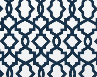Navy Blue White Sheffield Trellis Curtains Rod Pocket  63 72 84 90 96 108 or 120 Long by 24 or 50 Wide