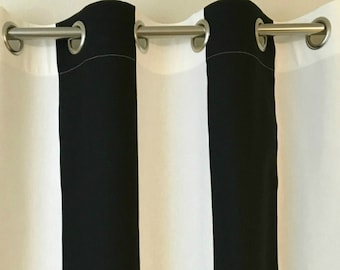 Black White Striped Kaitlyn Curtains  Grommet  63 72 84 90 96 108 or 120 Long by 24 or 50 Wide