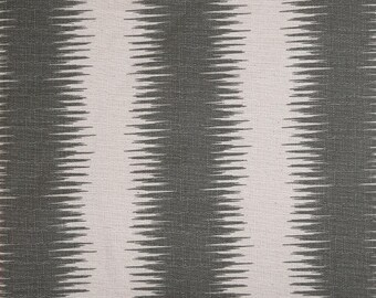 Gray Natural Beige Birch Jiri Ikat Stripe Curtains, Rod Pocket  63 72 84 90 96 108 or 120 Long x 24 or 50 Wide