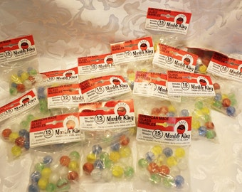 Vintage Marble King - Bag of 15 Each - Glass Marbles with shooter- NOS