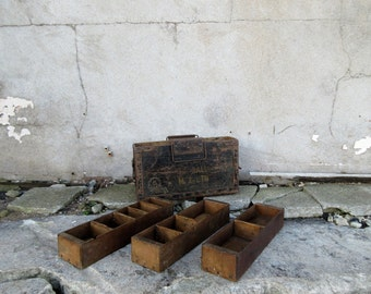 Vintage Industrial Wooden Ammunition Box with Internal Shelving