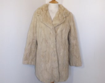 Vintage real champagne light honey blonde mink fur coat jacket patchwork three quarter length size Medium UK 10 12