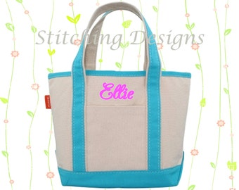 Personalized Tote, Small Tote, Flower girl Tote, Tote Bag, Monogrammed tote - SMALL - 11 Colors
