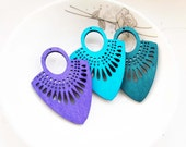Dyeing Series - 39x 54mm  Filigree Blue / Violet Fan Shape Geometrical Wood Dangle/ Wooden Charm/Pendant / Wood earrings NM135