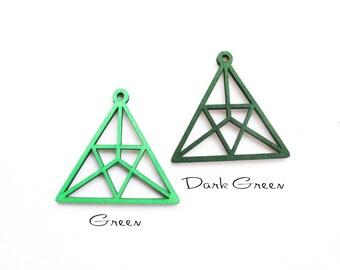 Dyeing Series - 49x 46mm  Filigree Green/ Dark Green Triangle Wood Dangle/ Wooden Charm/Pendant NM172