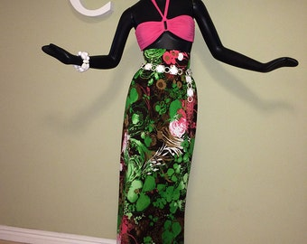 MOD Vintage 60s 70s Maxi Skirt High Waist Waisted 1970s 1960s Mad Men Christmas Holiday Party Hippie Boho Green Black Magenta Pink sz Small