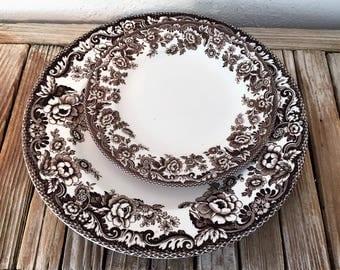 vintage set of brown spode delamere plates