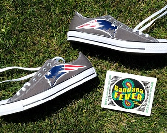 Custom Patriots Converse Shoes Low Charcoal, FREE SHIPPING, #PatsNation, #PatriotsNation, #Patriots, #converseallstar, by Bandana Fever