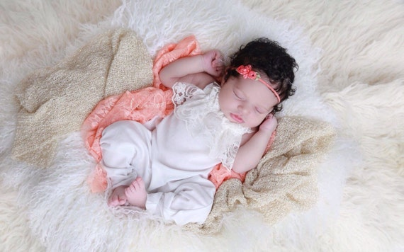 Newborn Stretch Lace Swaddle Wrap or Layering Blanket in Peach AND/OR ribbon rose headband for newborn photo shoots, by Lil Miss Sweet Pea