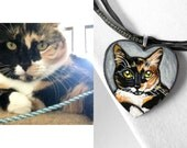 Custom Pet Portrait, Heart Necklace, Personalized Jewelry, Memorial Gift, Pet Owner, Cat Painting, Dog Art, Bunny Rabbit Lover, Photo Wood